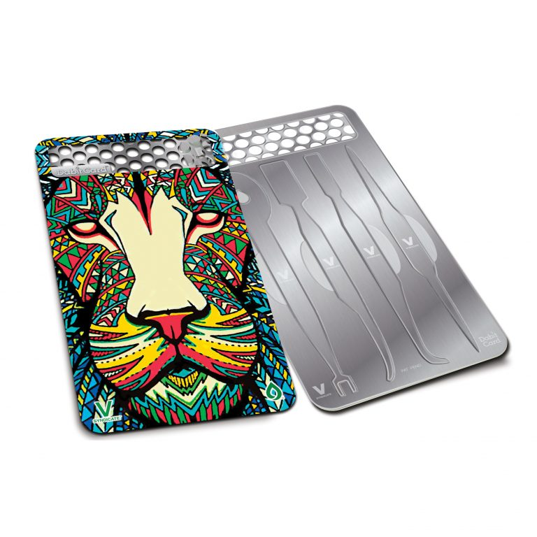 Tribal Lion Portable Dab Tool Card with Built in Grinder for Herb Front and Back